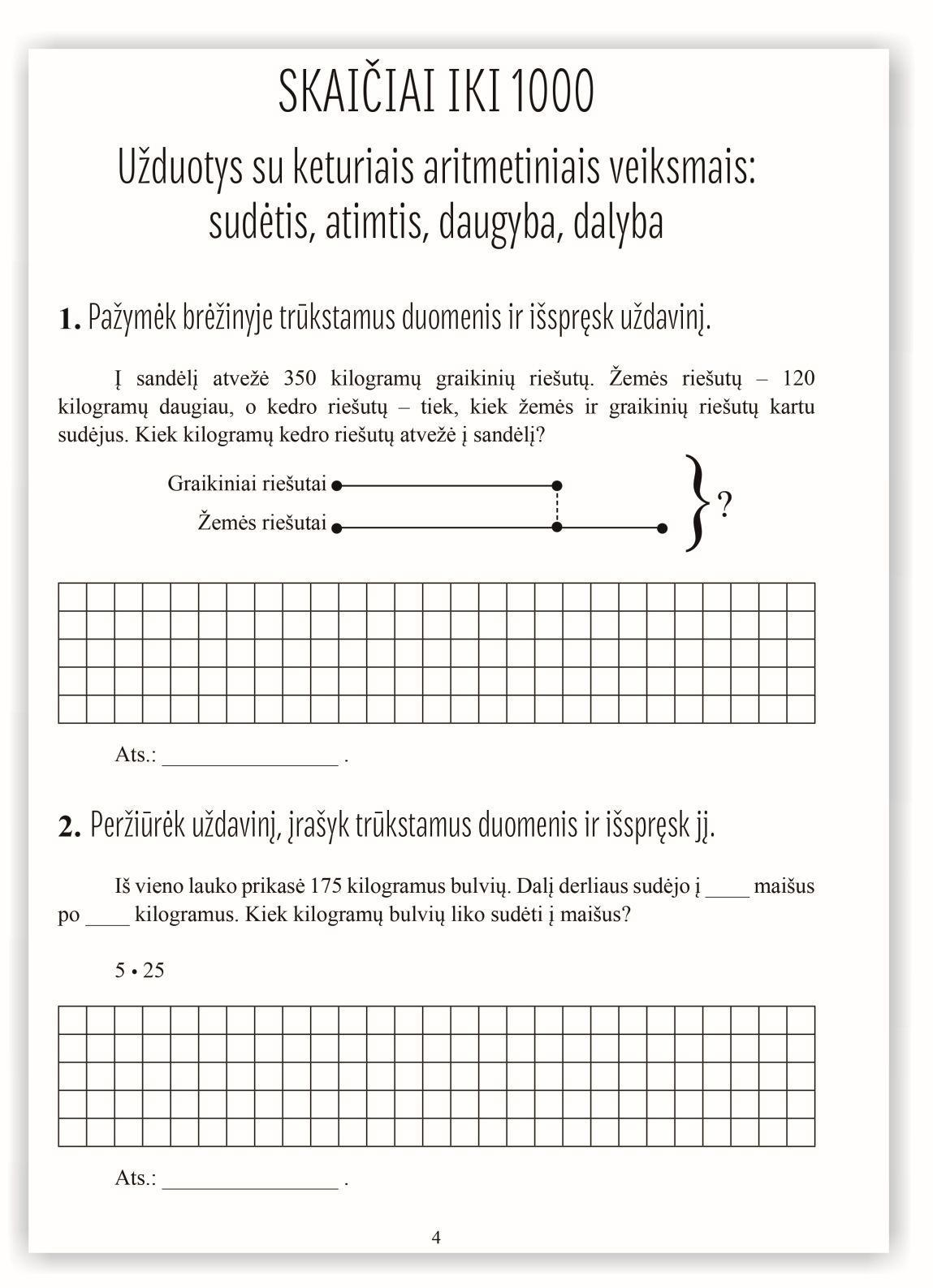Matematika. Tekstiniai uždaviniai. 3 klasė II dalis. Sudėtis, atimtis, daugyba, dalyba   Reda Jaseliūnienė