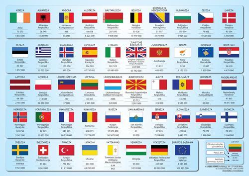 Europos politinis žemėlapis (su šalių vėliavomis, A4)  