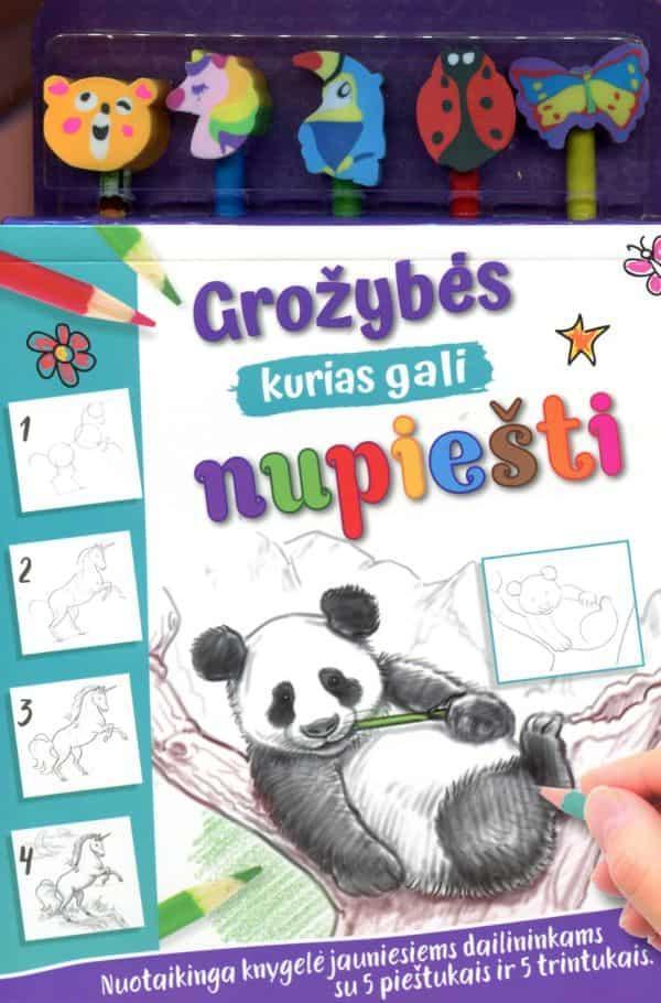 Grožybės, kurias gali nupiešti. 5 pieštukai, 5 trintukai ir nurodymai, kaip nupiešti per 20 žavių gyvūnų! | Kate Ashforth