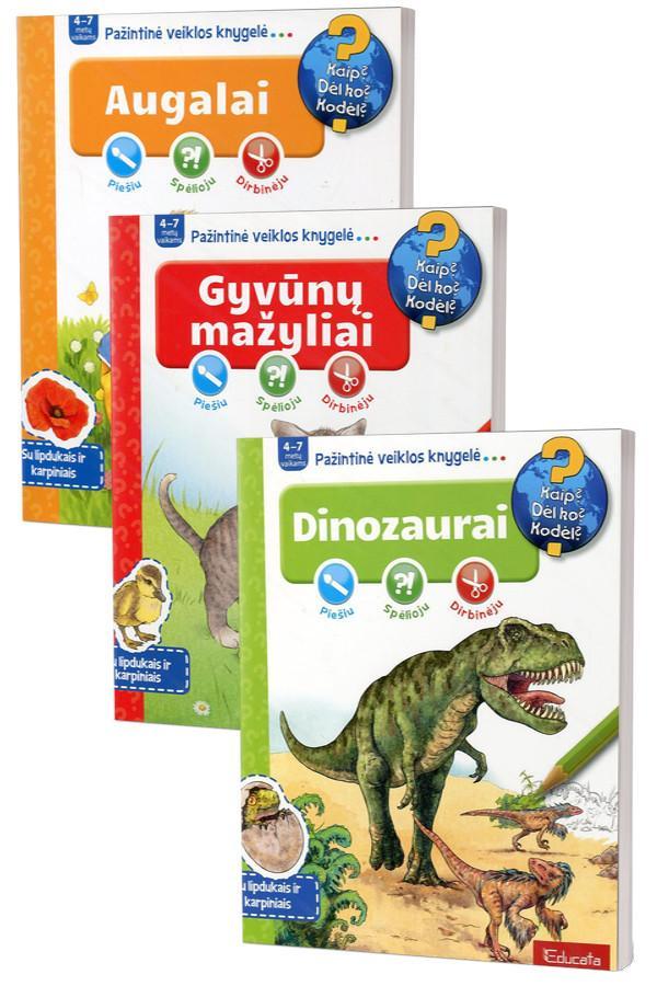 KOMPLEKTAS. Pažintinės veiklos knygelės 4-7 m. vaikams: Augalai + Gyvūnų mažyliai + Dinozaurai |