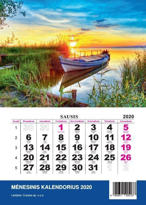 2020 metų kalendorius (mėnesinis O-press)  