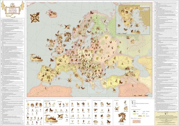 The Map of Mythical Creatures in Europe |