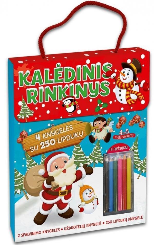 Kalėdinis rinkinys. 4 knygelės su 250 lipdukų, 6 spalvoti pieštukai (4-5 metų vaikams) |