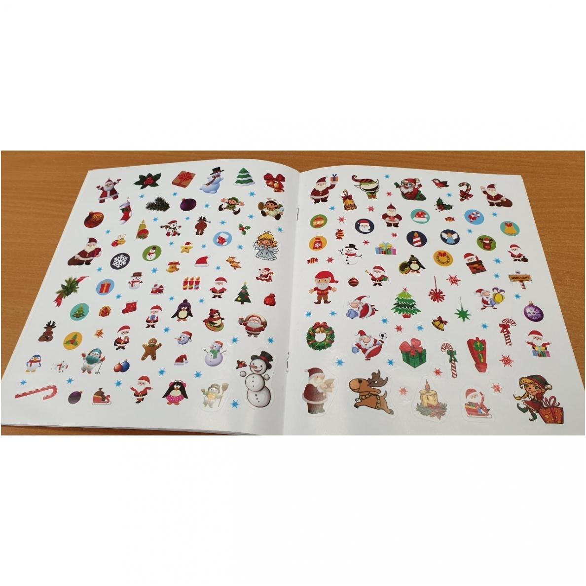 Kalėdos. 4 knygelės su 250 lipdukų ir spalvoti pieštukai  