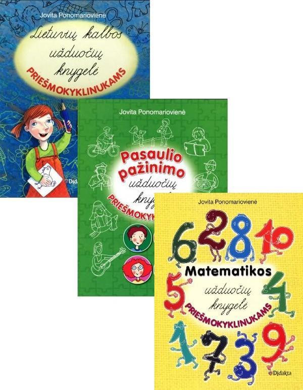 KOMPLEKTAS. Užduočių knygelė priešmokyklinukams: Lietuvių kalbos + Pasaulio pažinimo + Matematikos | Jovita Ponomariovienė