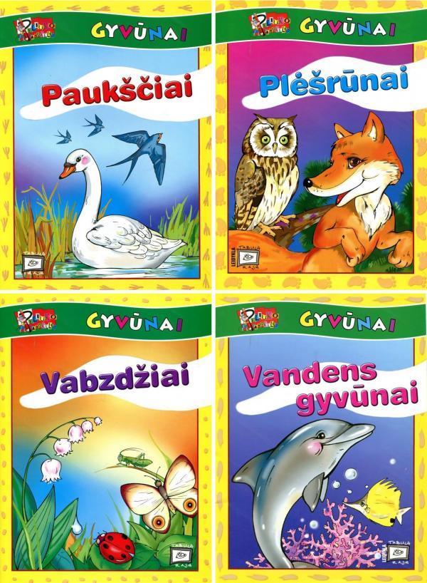 KOMPLEKTAS. Peliuko pamokėlės. Gyvūnai. Užduočių knygelės 4-7 m. vaikams: Paukščiai + Vabzdžiai + Vandens gyvūnai | Birutė Lenktytė-Masiliauskienė