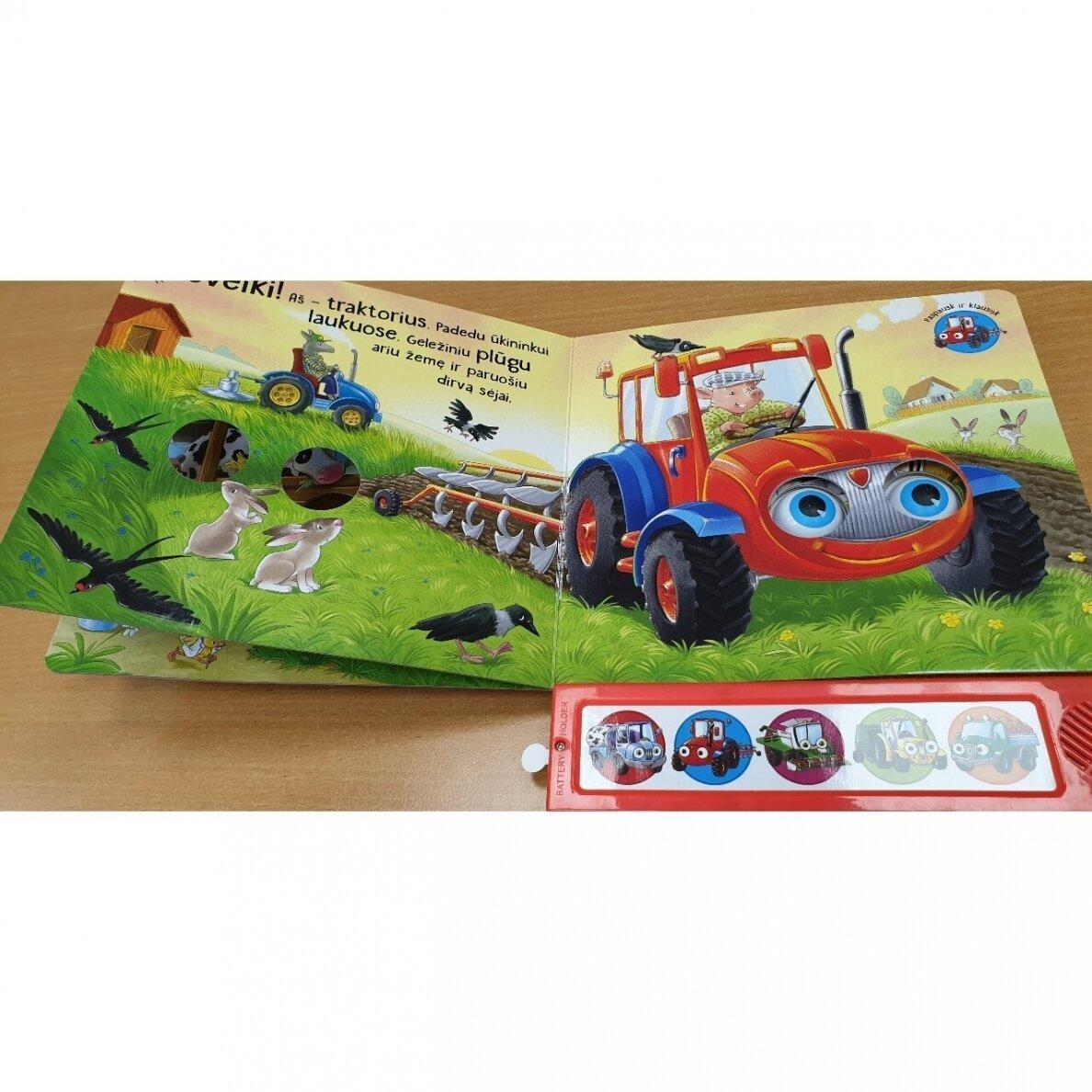 Kokios mašinos padeda ūkyje. 5 mašinų garsai. Mirksintys žibintai |
