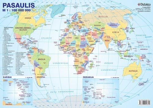 Pasaulio politinis žemėlapis (su šalių vėliavomis, A4) |