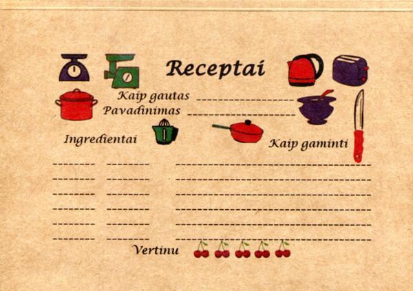 Užrašų knygelė receptams |