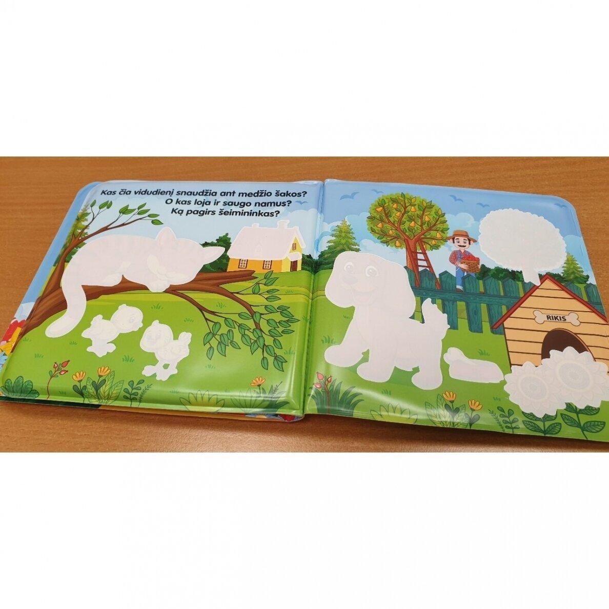 Vonios knygelė. Kas gyvena kaime. Nuspalvink vandeniu! |