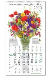 Laukų ir pievų gėlių puokštės. Sieninis 2019 metų kalendorius |