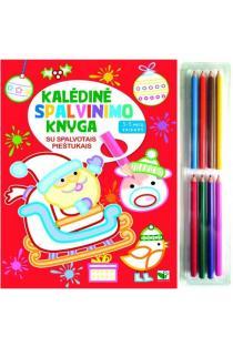 Kalėdinė spalvinimo knyga su 8 spalvotais pieštukais (3-5 metų vaikams) |