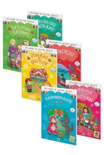 KOMPLEKTAS. Gražiausios klasikinės PASAKOS. 6 spalvinimo ir skaitymo knygelės su lipdukais (3-8 metų vaikams) |