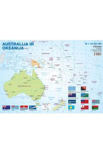 Australijos ir Okeanijos politinis žemėlapis (su šalių vėliavomis, A4) |