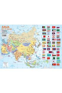 Azijos politinis žemėlapis (su šalių vėliavomis, A4) |