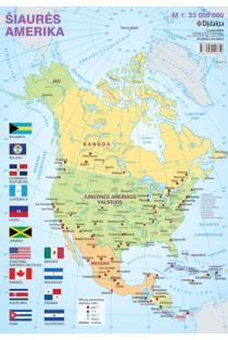 Šiaurės Amerikos politinis žemėlapis (su šalių vėliavomis, A4) |