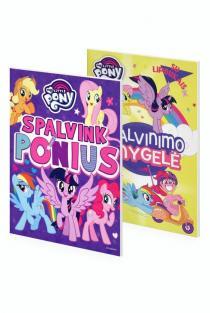 KOMPLEKTAS. Aš myliu PONIUS! Spalvink ponius + Mažieji poniai. Spalvinimo knygelė su lipdukais |