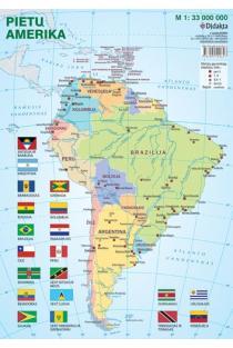 Pietų Amerikos politinis žemėlapis (su šalių vėliavomis, A4)  